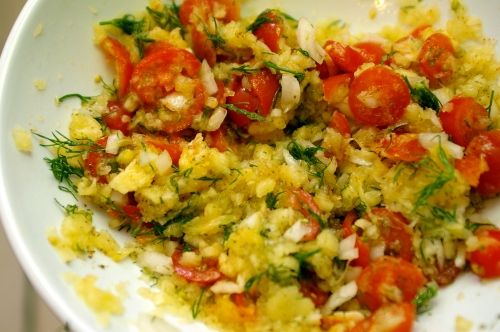 Raw Spaghetti Squash with Tomato Dill